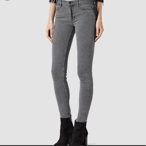 All Saints Skinny Low Waist Grey Jeans